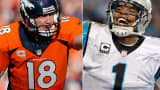 Peyton Manning of the Denver Broncos, left, and Cam Newton of the Carolina Panthers