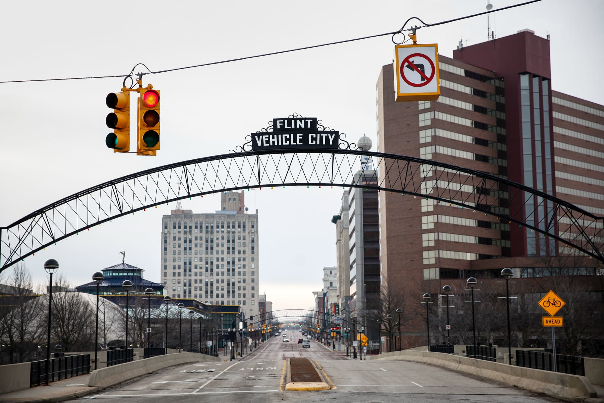 Saginaw Street in downtown is shown on February 7, 2016 in Flint, Michigan.