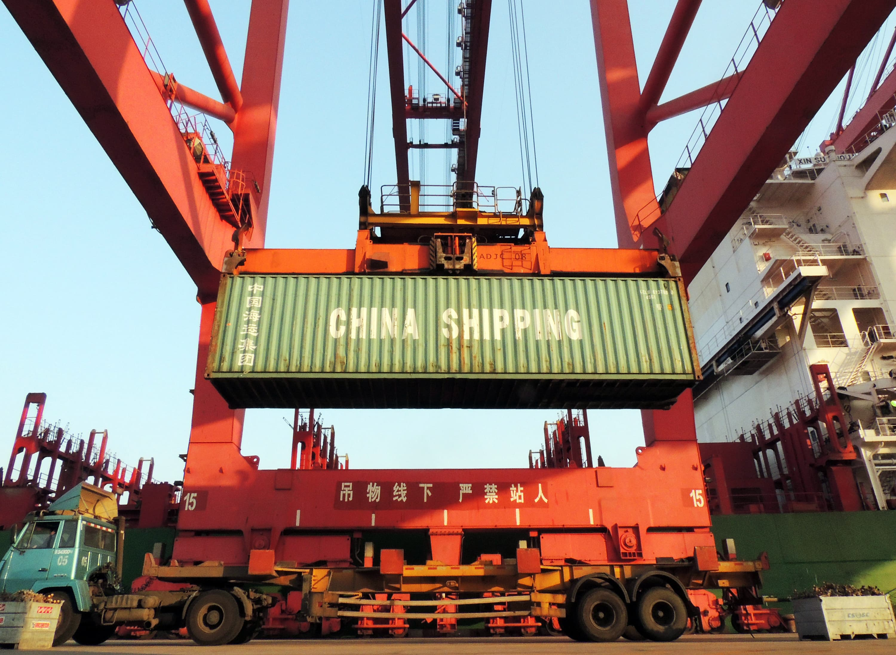 Containers are transported at a port in Lianyungang, China.