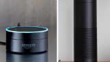 Amazon Echo Dot and Amazon Echo.