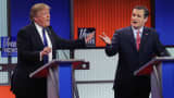 Republican presidential candidates, Donald Trump and Ted Cruz, participate in a debate sponsored by Fox News on March 3, 2016.