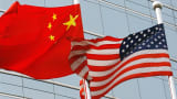 The flags of United States and China outside a commercial building in Beijing, China, on July 09, 2007.