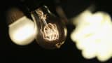 LED light bulb (L) and a compact florescent (CFL) light bulb