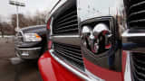 Dodge Ram pickup trucks are offered for sale at a dealership in Chicago, Illinois.