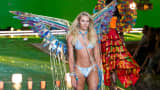 Candice Swanepoel walks the runway during the 2015 Victoria's Secret Fashion Show.
