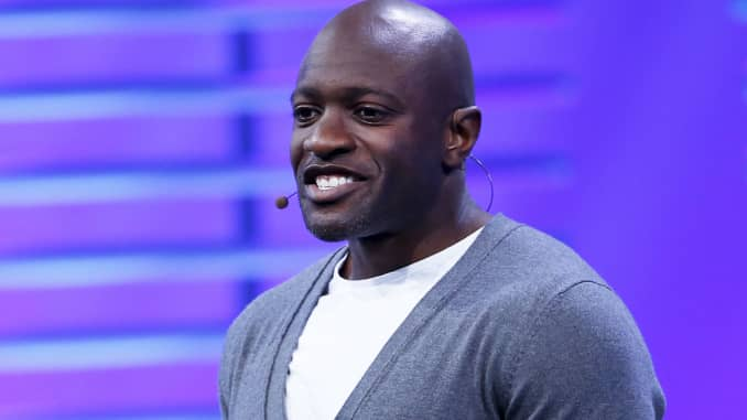 Ime Archibong, director of product partnerships at Facebook, speaks on stage during the Facebook F8 conference in San Francisco, April 12, 2016.