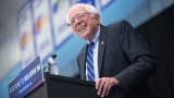 Democratic presidential candidate Senator Bernie Sanders speaks at a campaign event on the campus of Indiana University