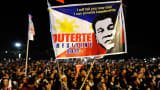 Supporters of presidential frontrunner Rodrigo Duterte cheer during his final campaign rally on May 7, 2016 in Manila, Philippines.