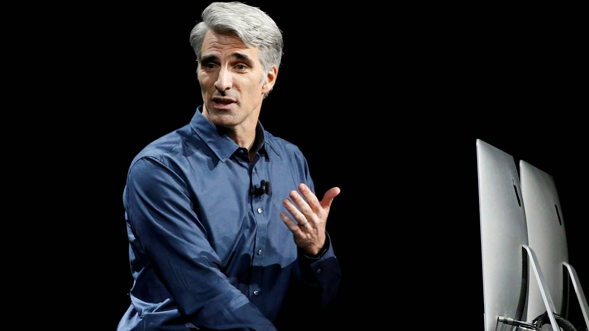 Craig Federighi, Senior Vice President of Software Engineering for Apple, discusses the Siri desktop assistant for MacOS Sierra at the company's Worldwide Developers Conference in San Francisco, June 13, 2016.