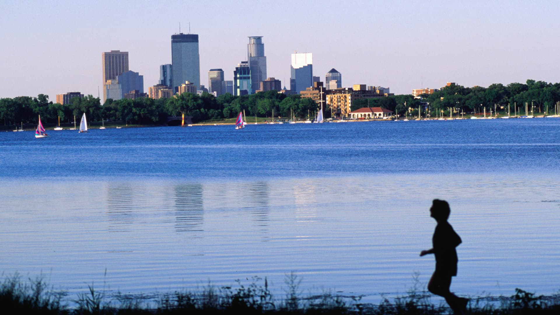 An early morning jog around Lake Bde Maka Ska, St. Paul, Minnesota.