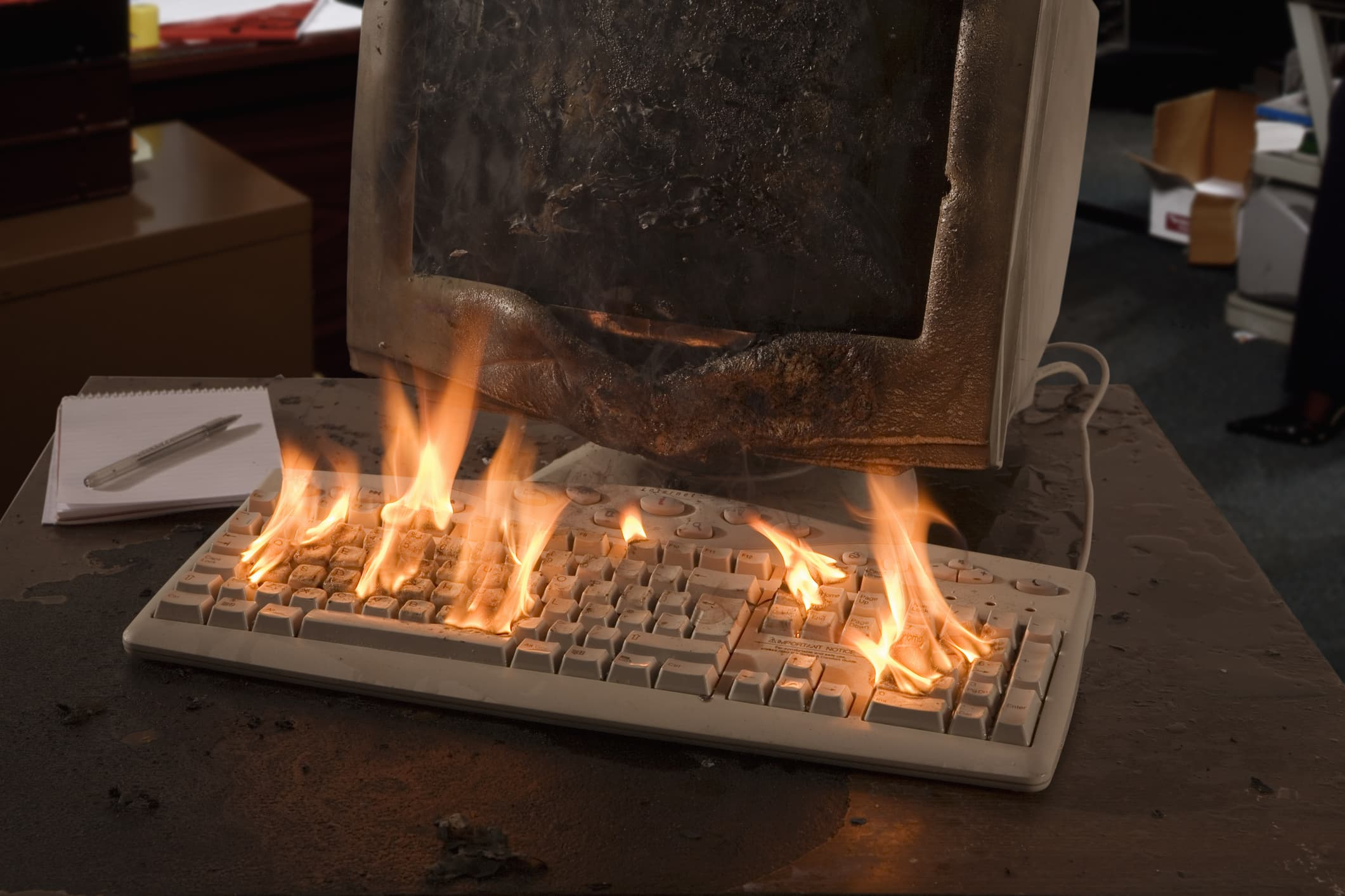 Keyboard on fire, computer, hacking