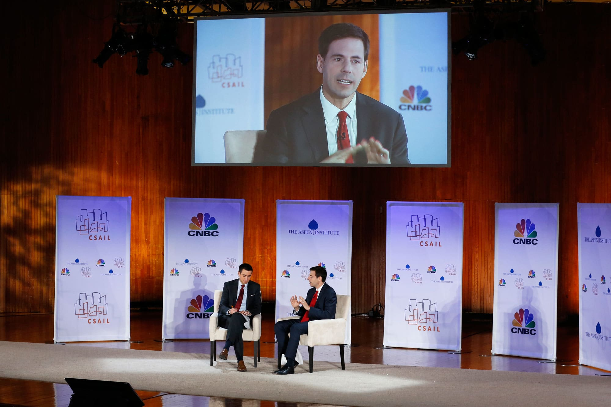 CNBC's Andrew Ross-Sorkin interviewing John Carlin at the Cambridge Cyber Summit on Wednesday, October 5, 2016.