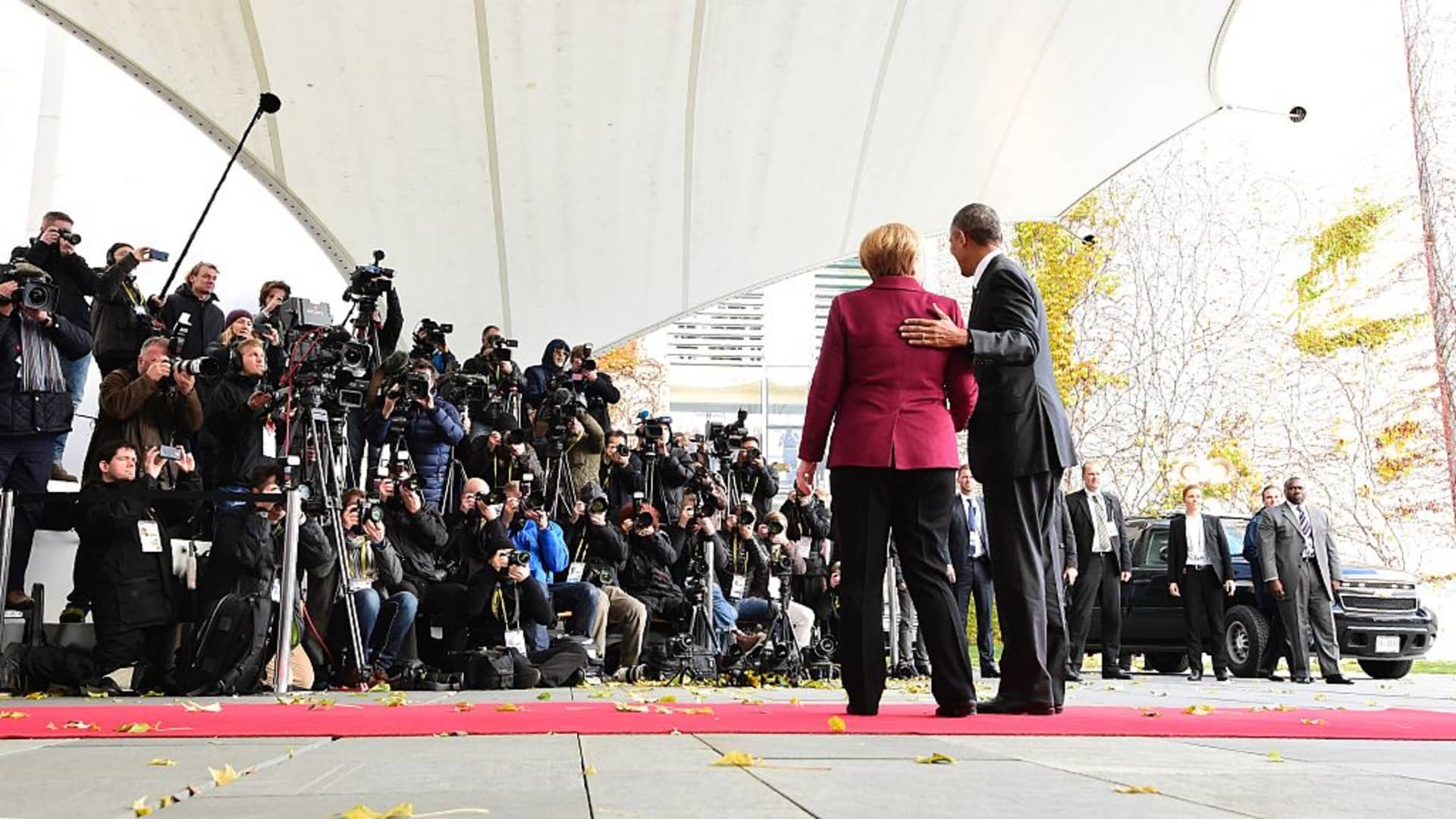 Outgoing German Chancellor Angela Merkel with the then-US President Barack Obama on November 18, 2016 in Berlin.