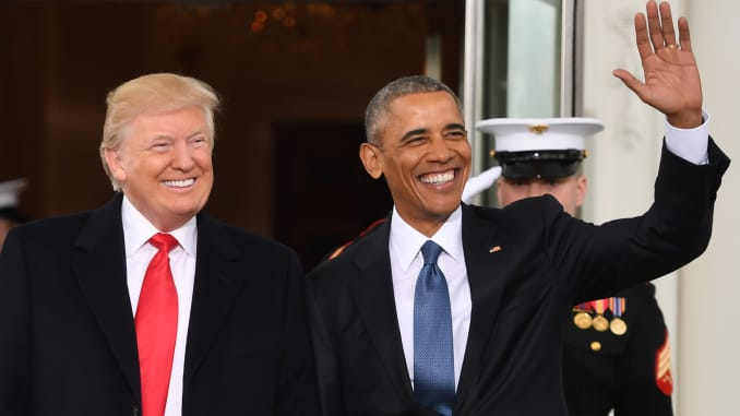 Obama meets Trump, departs White House for last time as president
