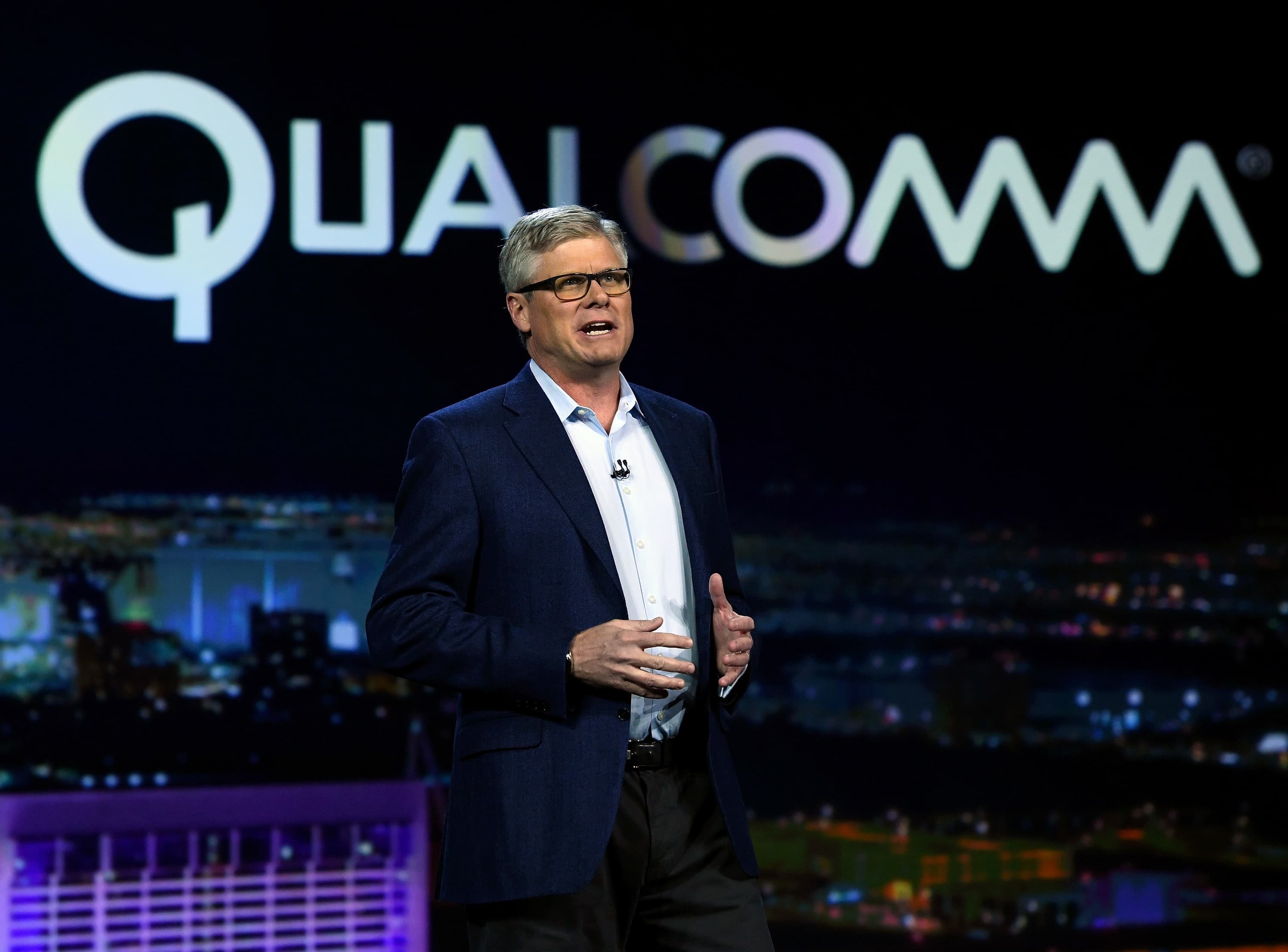 Qualcomm Inc. CEO Steve Mollenkopf speaks during a keynote address at CES 2017 on January 6, 2017 in Las Vegas, Nevada.