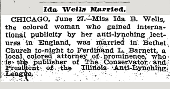 Ida B Wells wedding announcement chart