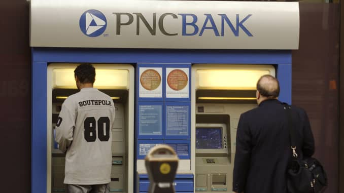 An ATM is shown at company headquarters for the PNC Financial Services at One PNC Plaza in Pittsburgh, Pennsylvania.