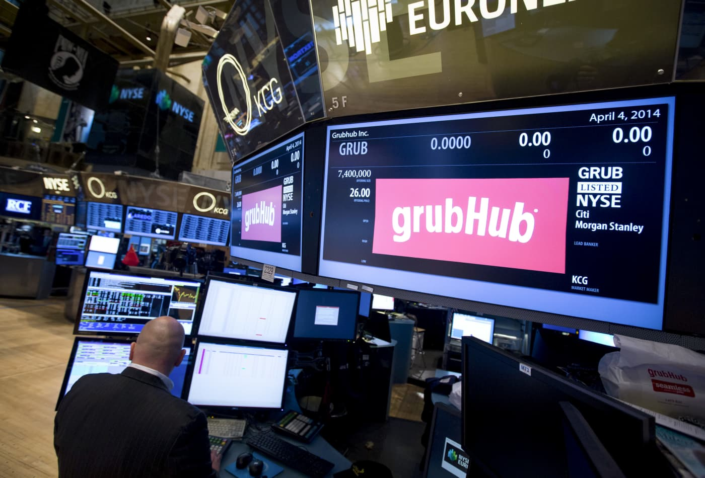 Grubhub shares surge on report the company is exploring a sale