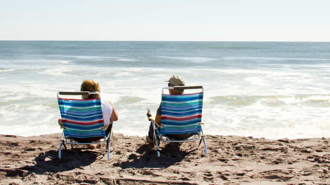 Premium: Retirees on a beach, retired, vacation
