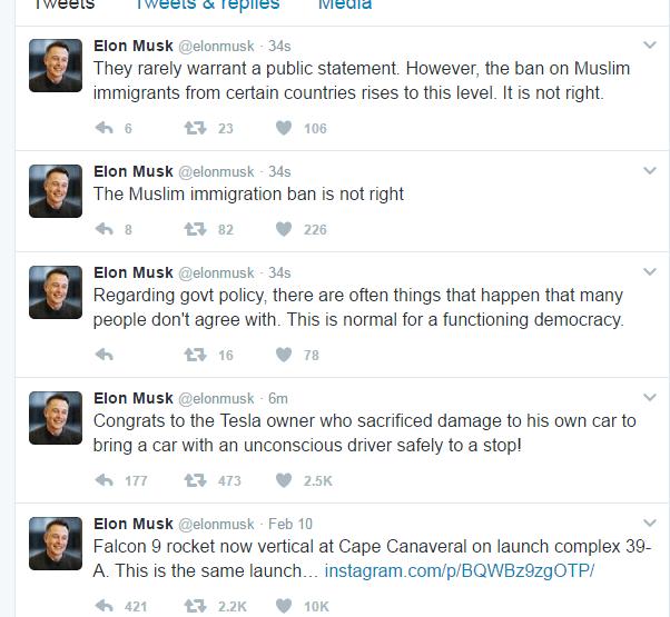 Elon Musk Muslim ban tweet