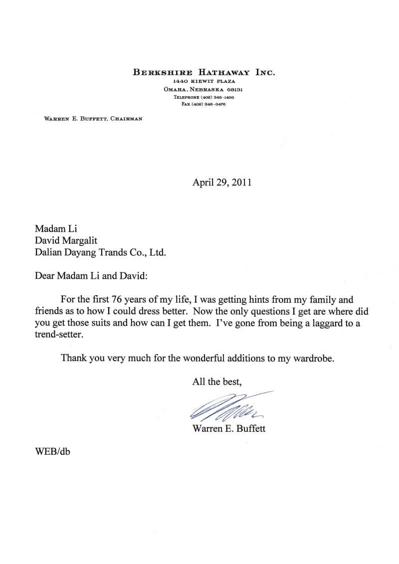 Letter from Warren Buffett to Madam Li