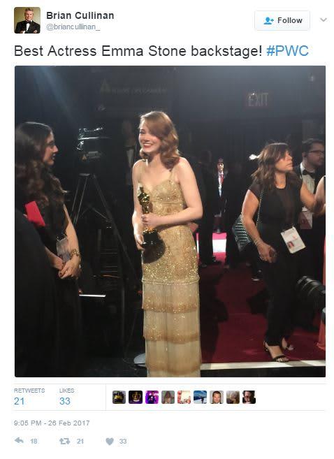 Best Actress Emma Stone Tweet oscars 170226