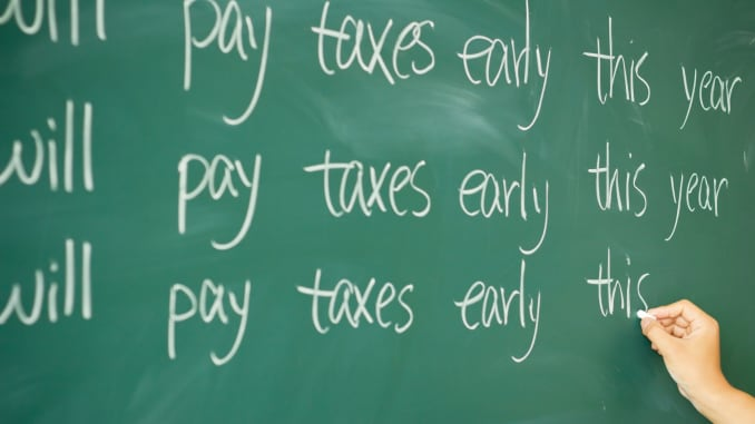 Premium: Will Pay Taxes Early This Year blackboard