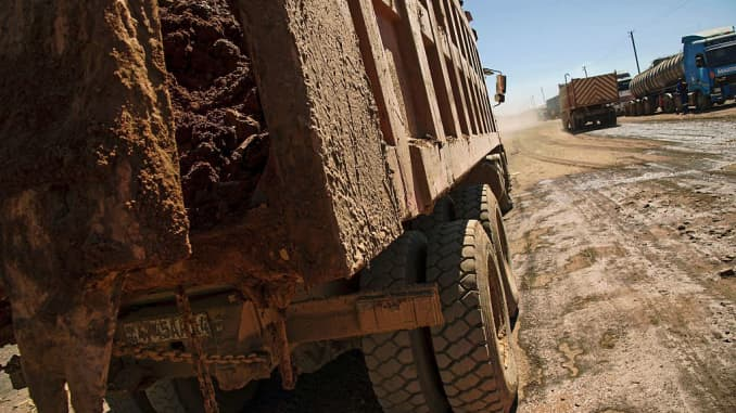 A truck carries rocks extracted from a cobalt mine at a copper quarry and cobalt pit in Lubumbashi, Democratic Republic of the Congo, on May 23, 2016.