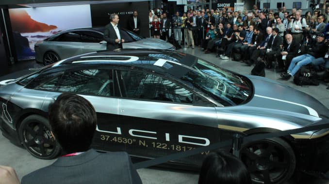 The Lucid Air Alpha test car, displayed at the New York Auto Show, reached a software-limited 217 miles per hour on a text track in Ohio.