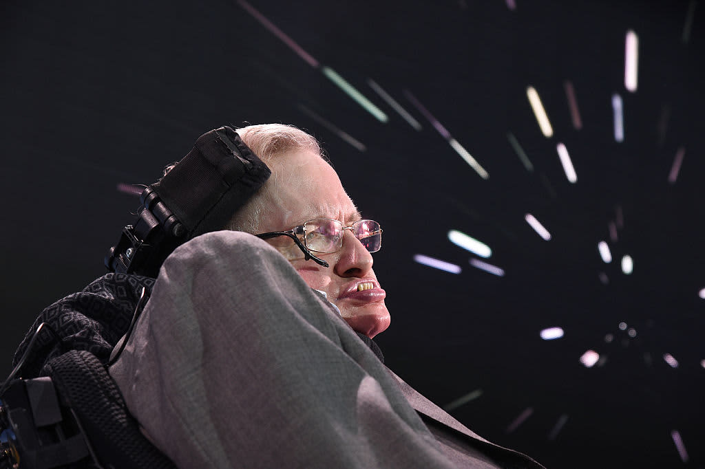 Stephen Hawking speaks on stage as he and Yuri Milner host press conference to announce Breakthrough Starshot, a new space exploration initiative, at One World Observatory on April 12, 2016 in New York City.