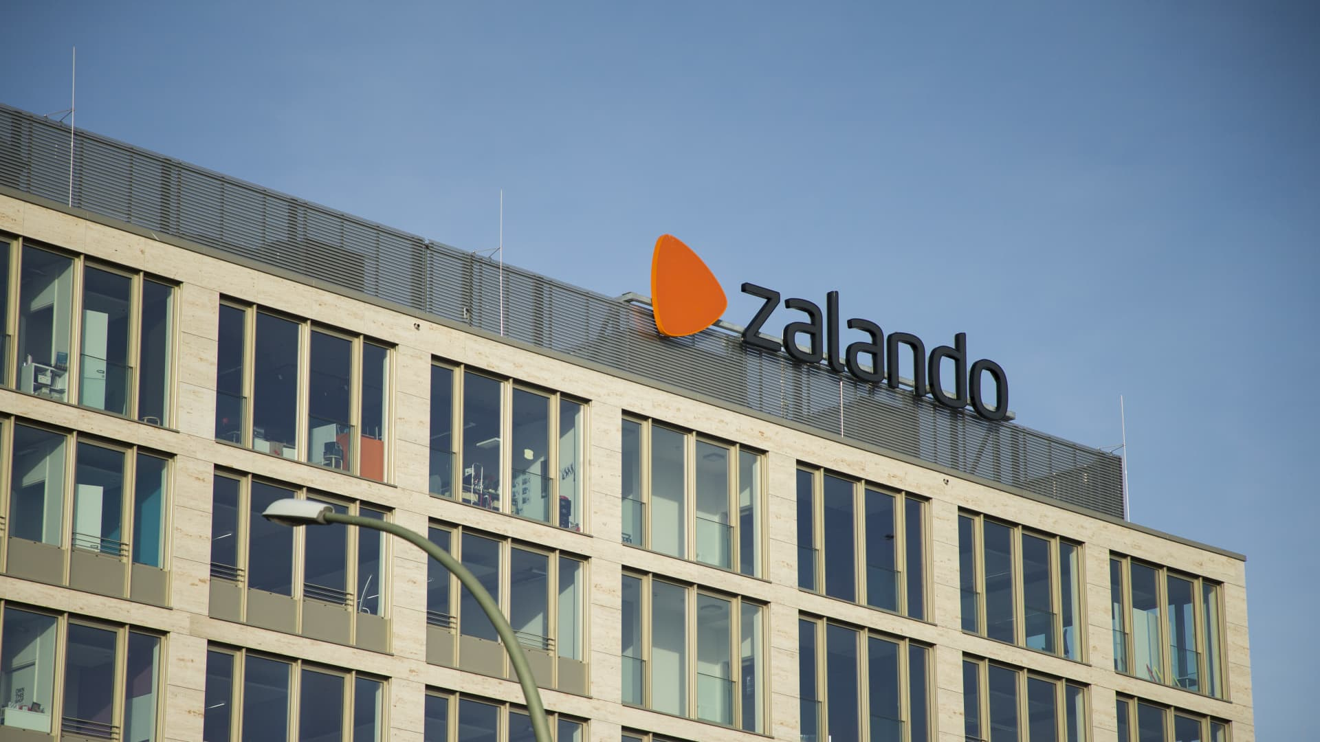The Zalando logo is seen on a building in the district of Friedrichshain-Kreuzberg in Berlin, Germany