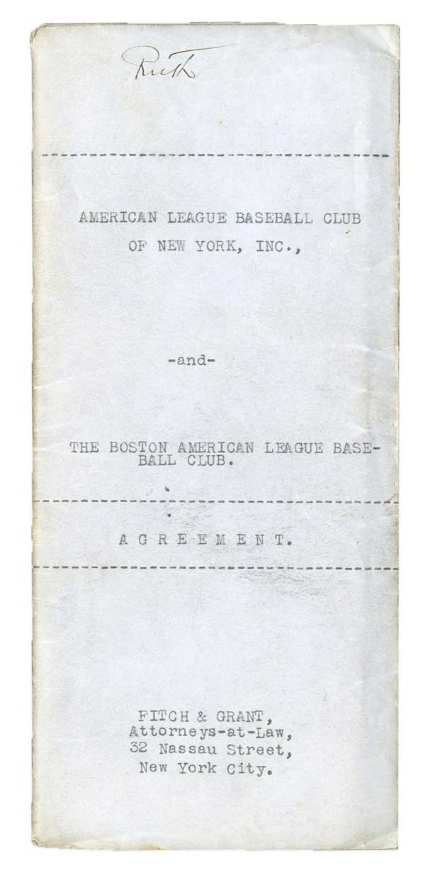 f3381d8a9b1 Babe Ruth Yankees contract aims to break world record at auction