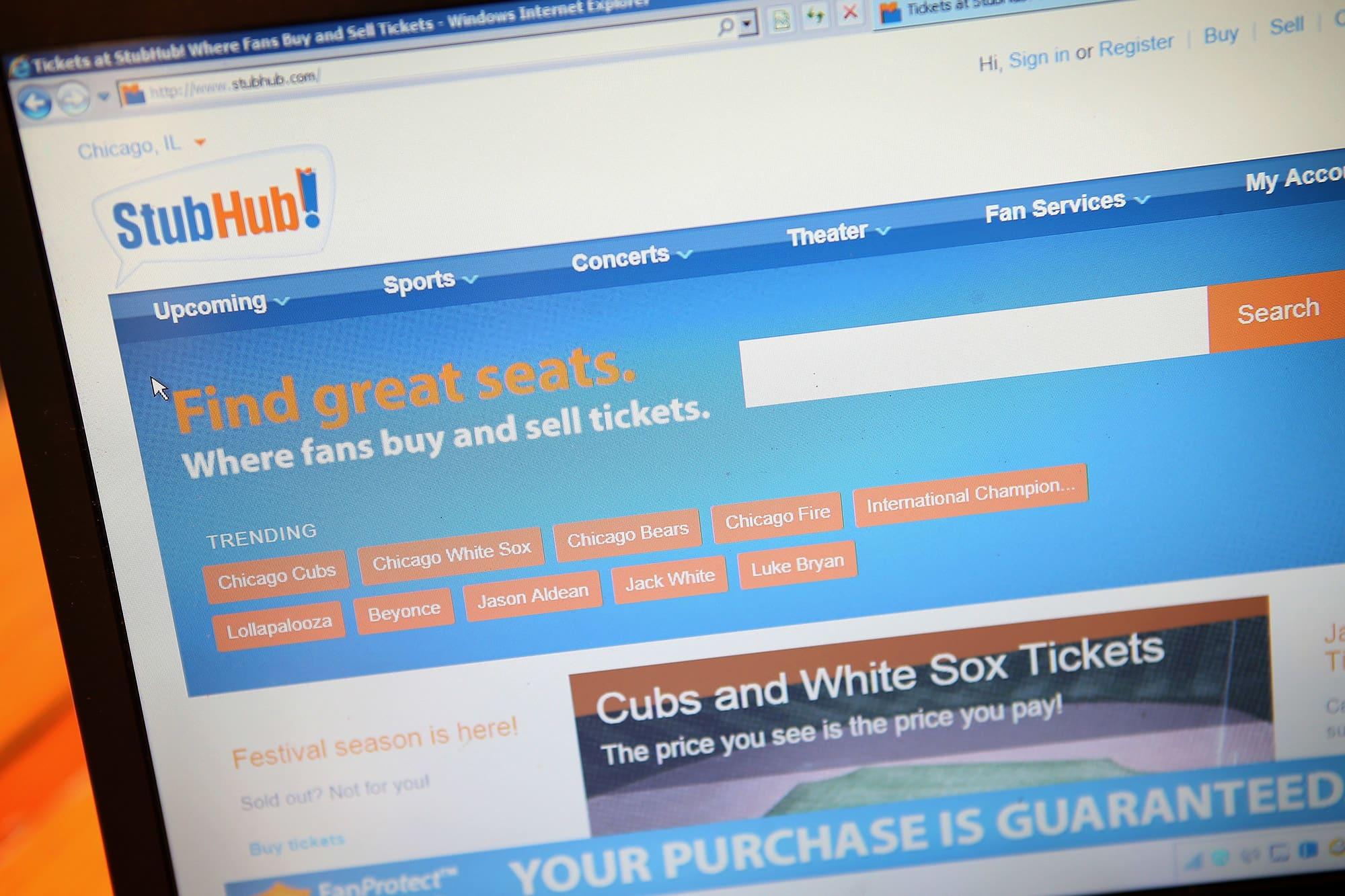 EBay to sell StubHub to Viagogo for about $4 billion in cash