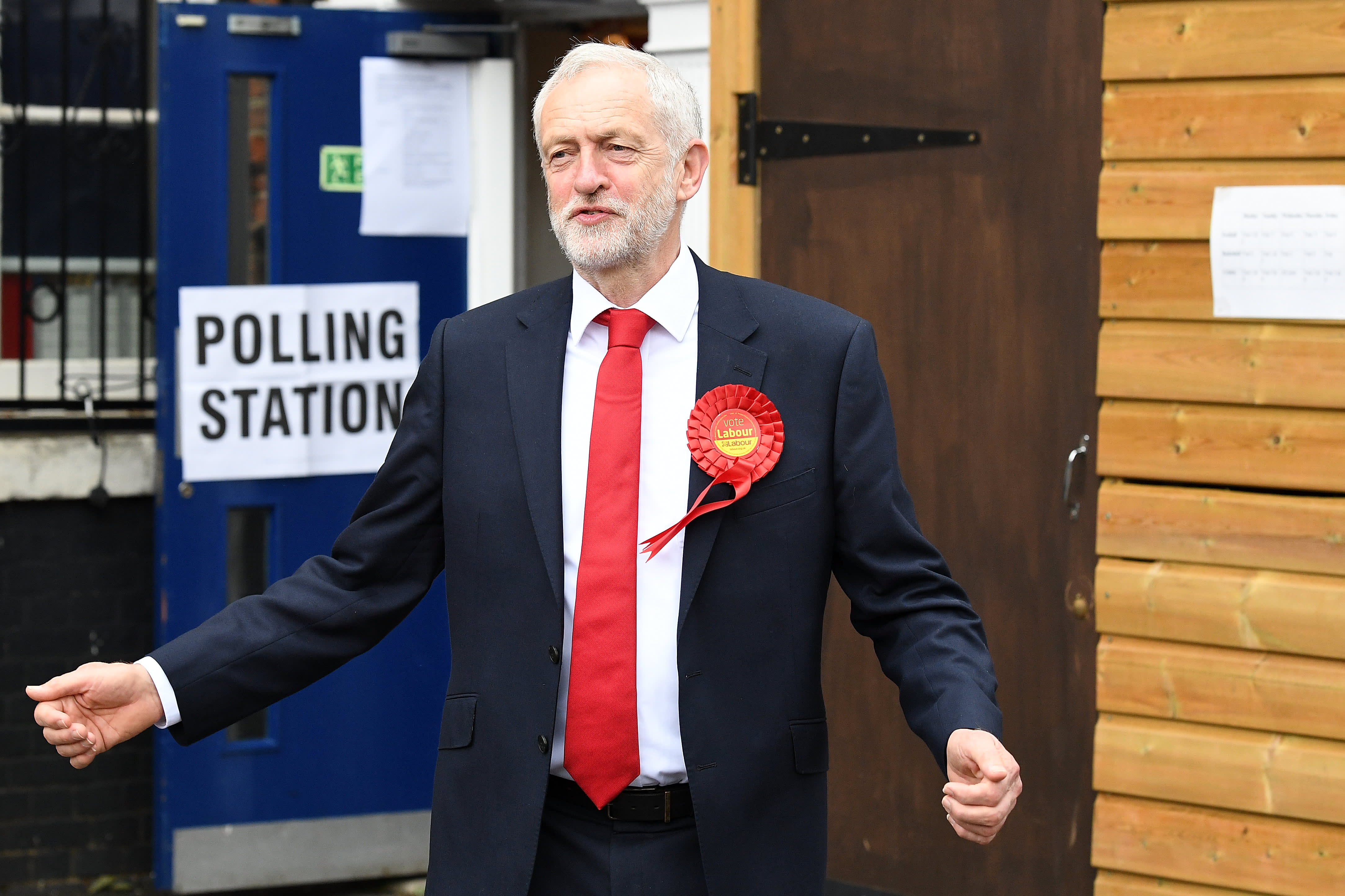 Labour party leader Jeremy Corbyn casts his vote at a polling station at Pakeman Primary School on June 8, 2017 in London, England.