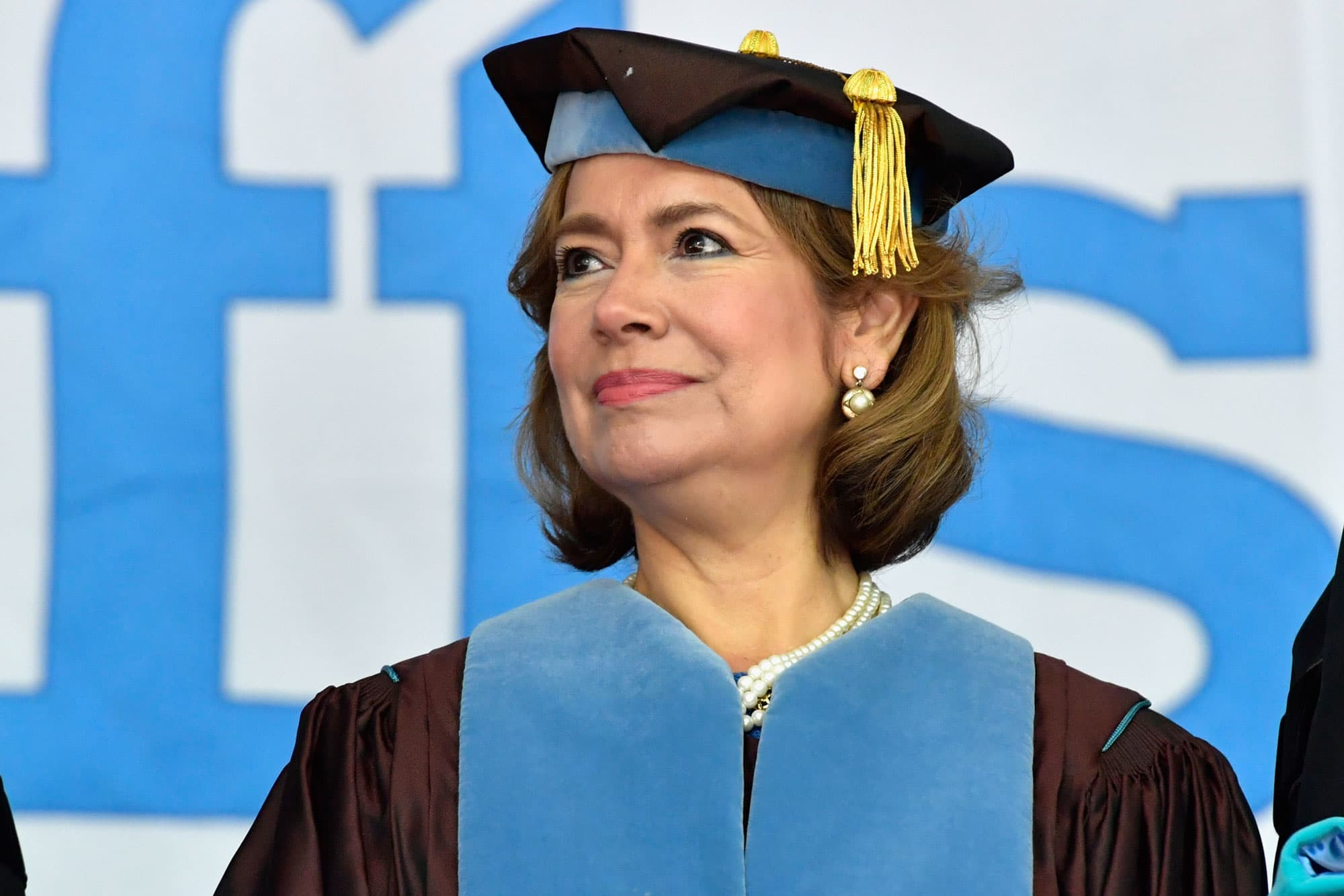Maria Contreras-Sweet receives an Honorary Doctor of Public Service Degree at the 2017 Tufts University 161st Commencement at Tufts University Green on May 21, 2017 in Medford, Massachusetts.