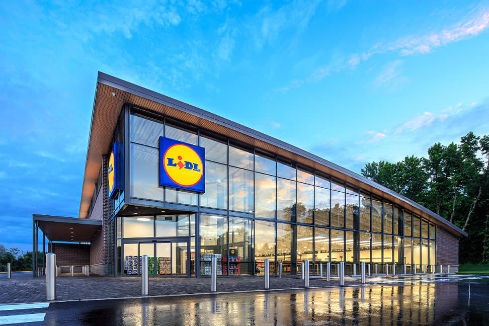 Exterior of one of Lidl's first new U.S. stores set to open Thursday in the mid-Atlantic region.