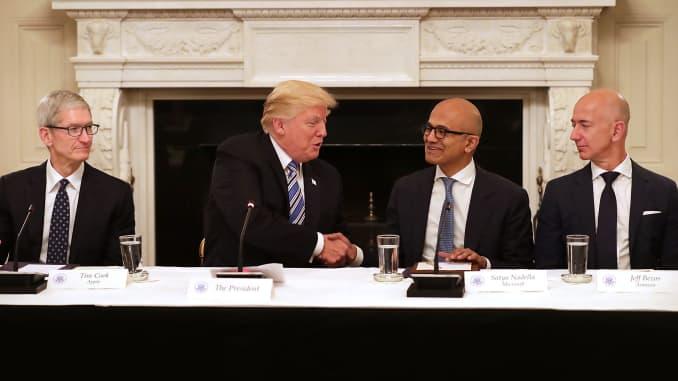 Subs: Nadella Trump Handshake Roundtable 170619