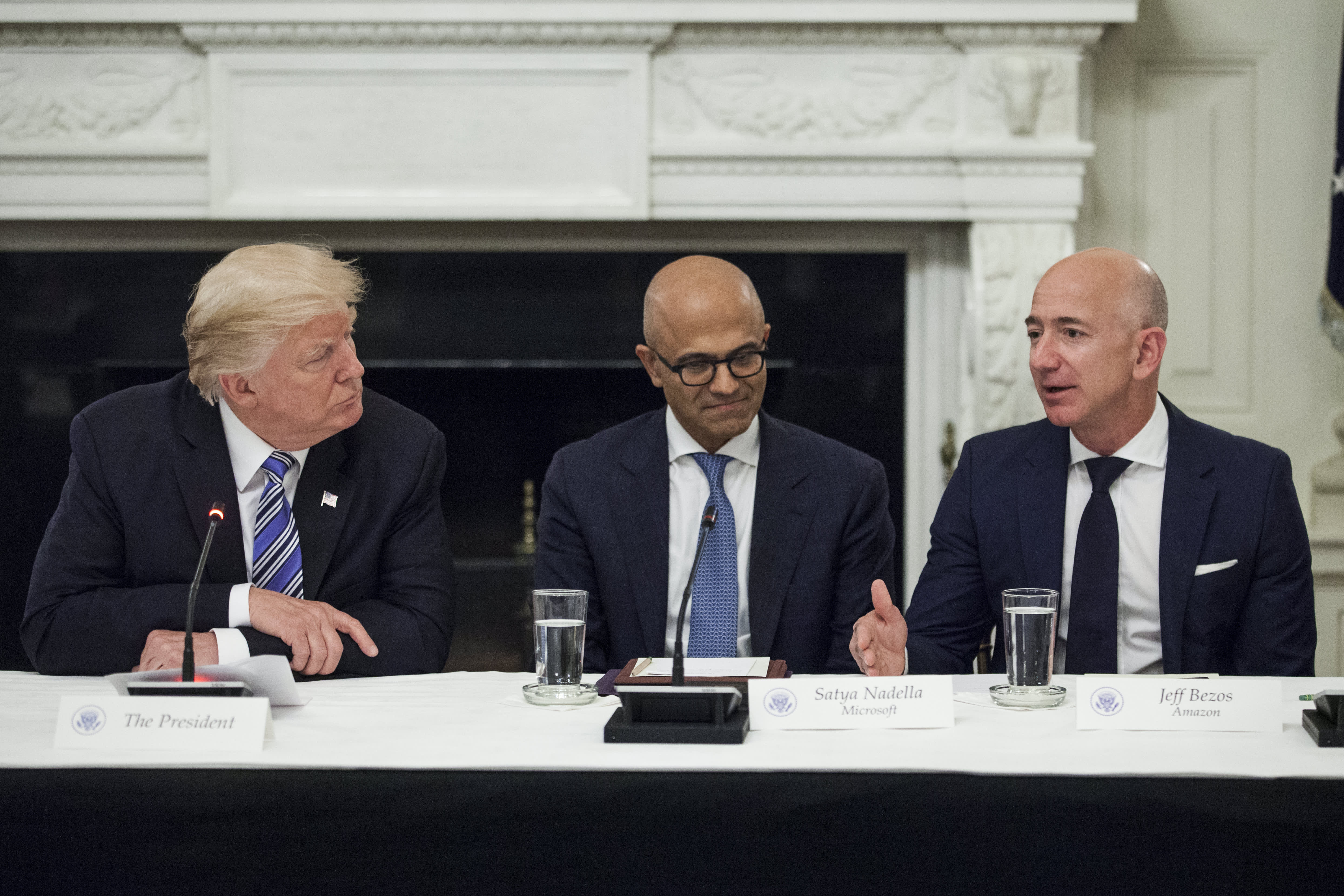 Republican lawmakers urge Trump not to delay the $10 billion Pentagon cloud contract Amazon and Microsoft want
