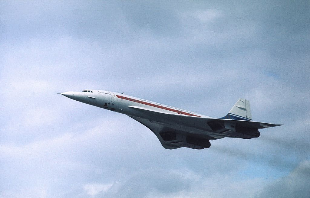 The Anglo-French passenger jet Concorde in flight.