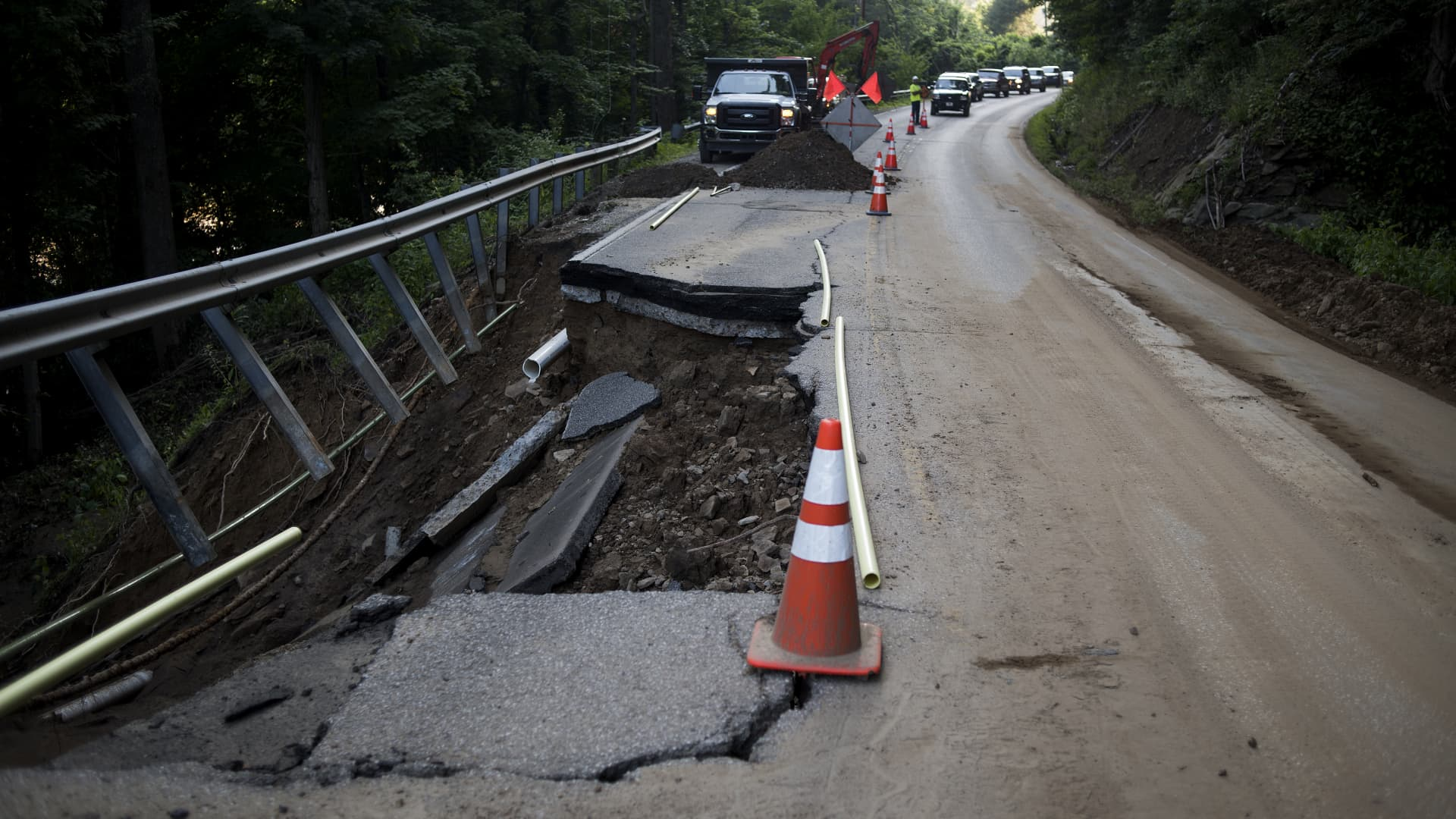 A section of road collapsed along State Route 4 on June 25, 2016 outside of Queen Scholls, West Virginia.