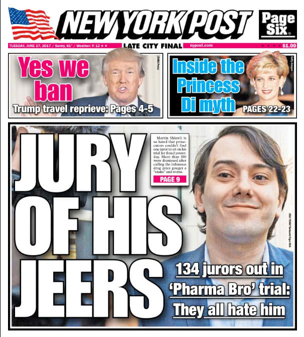 ONE TIME USE: New York Post cover of Martin Shkreli