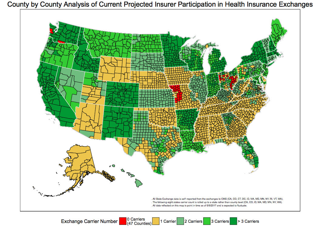 County by County Analysis of Current Projected Insurer Participation in Health Insurance Exchanges