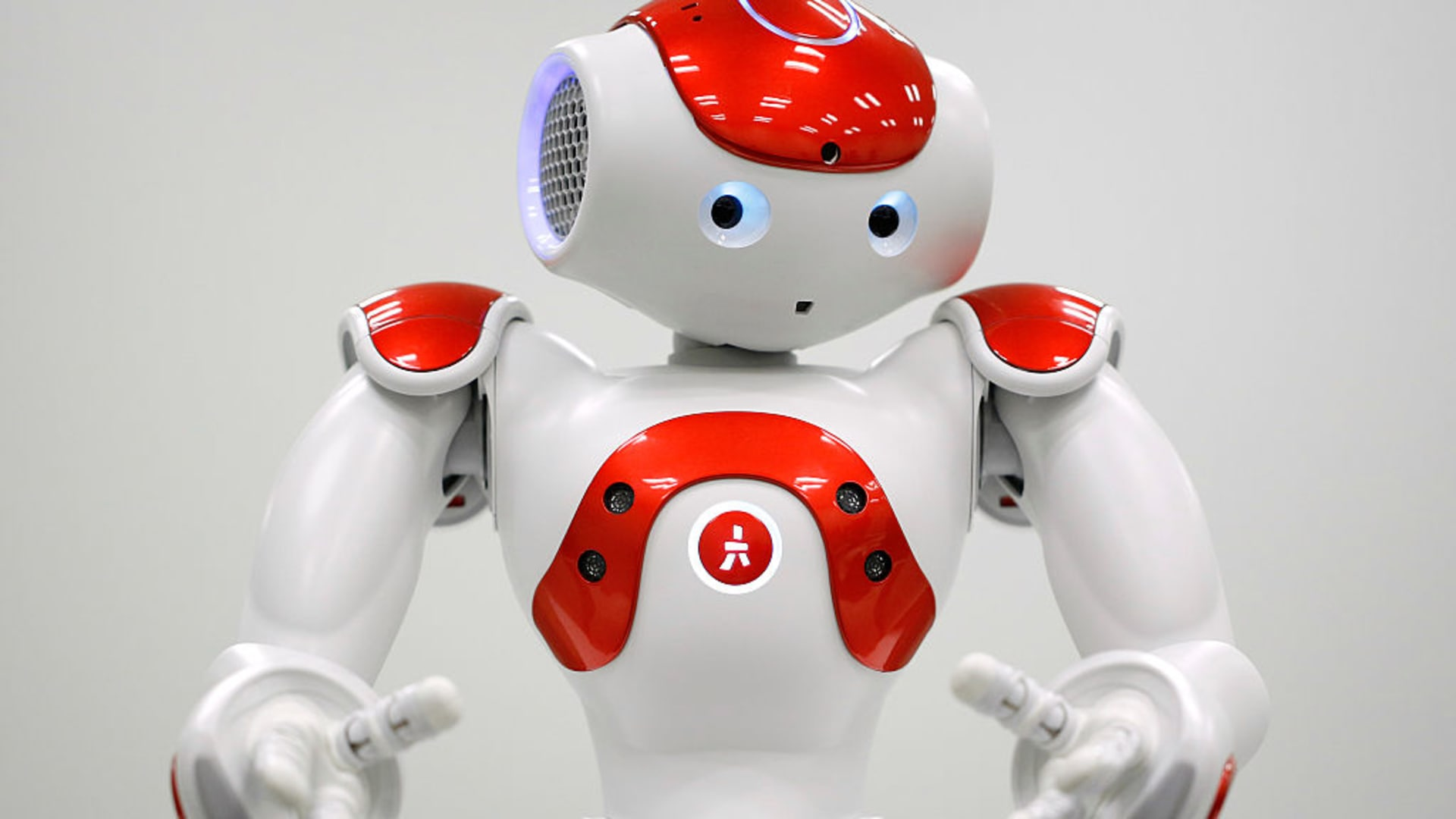A NAO humanoid robot, developed by Softbank Corp. subsidiary Aldebaran Robotics SA.