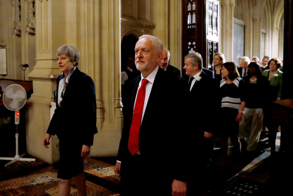 Prime Minister Theresa May and opposition Labour Party leader Jeremy Corbyn during the State Opening of Parliament on June 21, 2017 in London, United Kingdom.