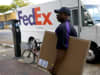 A FedEx delivery person in Miami, Florida.
