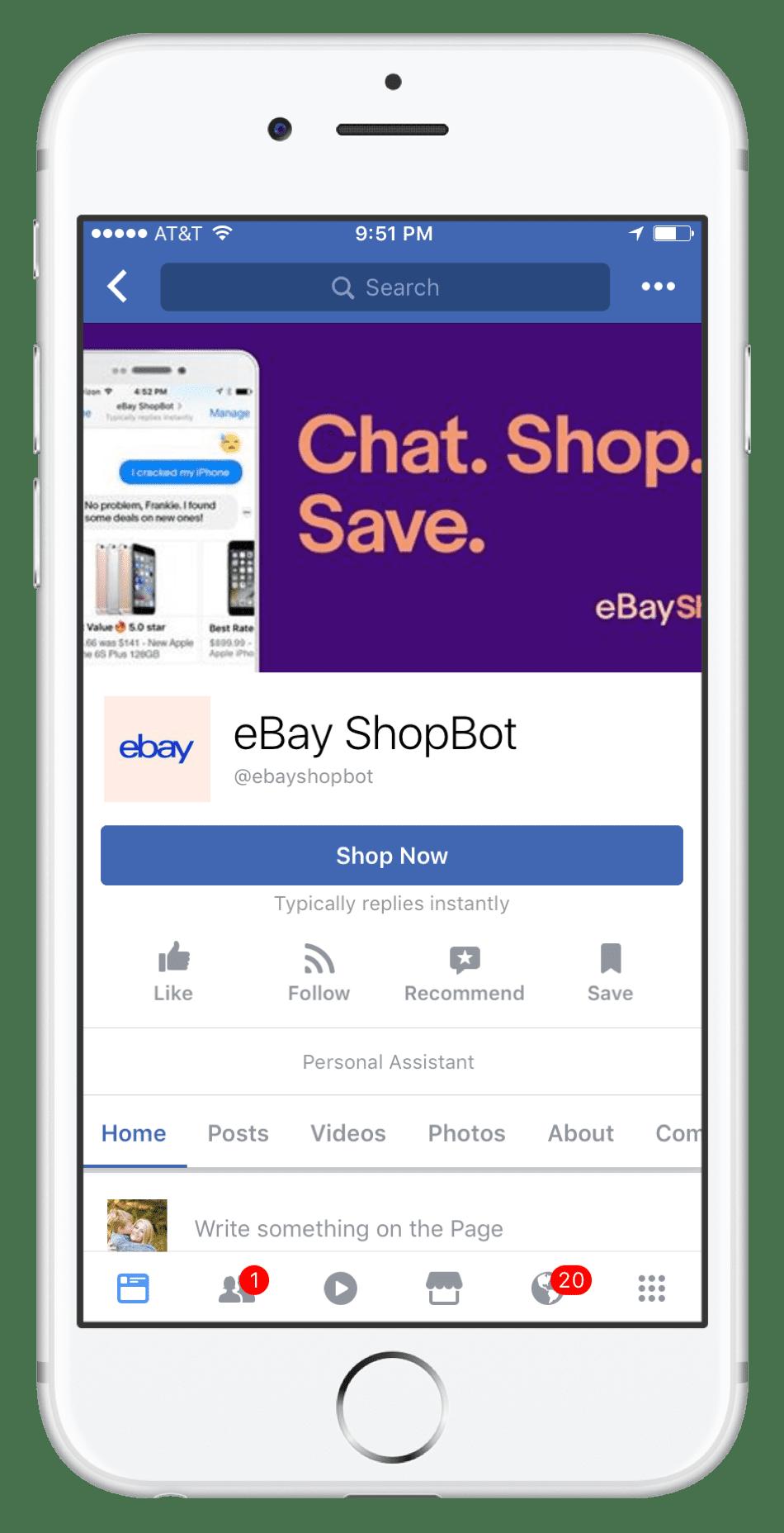 HANDOUT Facebook Messenger eBay shop now 172707 EC