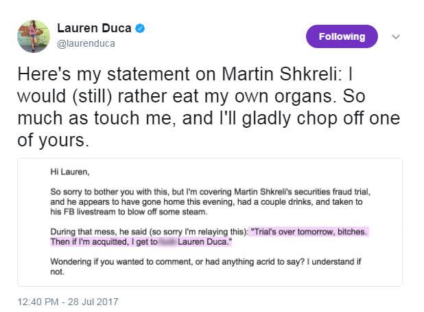 ONE TIME USE: Martin Shkreli Lauren Duca post