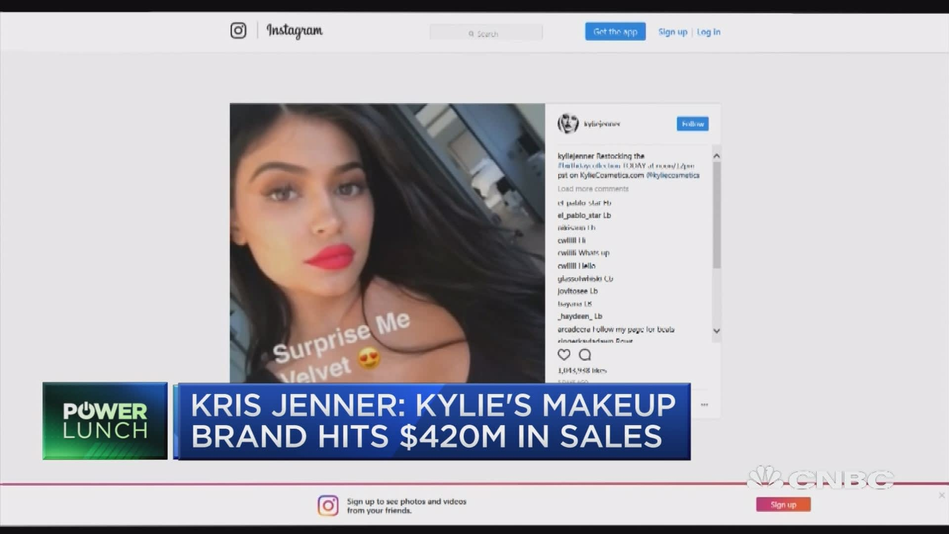 Kris Jenner says Kylie's makeup brand hits $420M in sales
