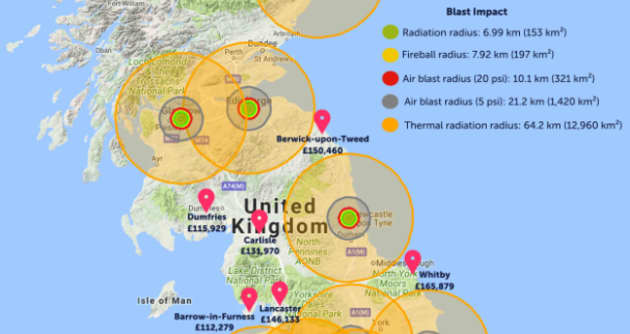 Map Of Uk Nuclear Bunkers.Uk Map Of Where To Live To Avoid Nuclear Impact Zone Draws Backlash