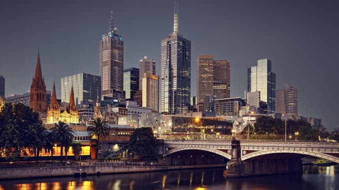 GP: Melbourne City at night